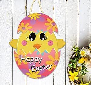 MISS FANTASY Easter Door Decorations Happy Ester Door Hanger Easter Egg Hanging Door Wall Welcome Sign Chicks in Eggs Outdoor Hanging Decor Made of PP Plastic Waterproof