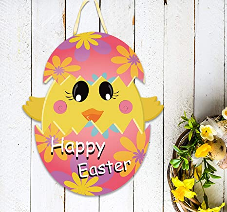 MISS FANTASY Easter Door Decorations Happy Ester Door Hanger Easter Egg  Hanging Door Wall Welcome Sign Chicks in Eggs Outdoor Hanging Decor Made of  PP