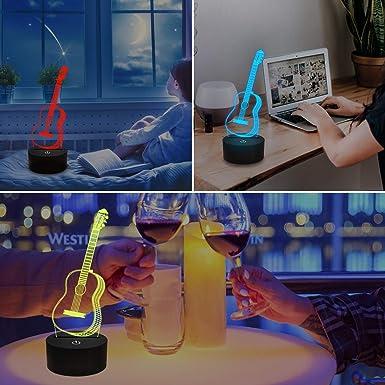 3D Nachtlicht Gitarre Geschenke f/ür Musikliebhaber Illusionslampe mit Fernbedienung 16 Farben die erstaunliche Auswahl an Ideen f/ür Musikinstrumenten Shop Home /ändern