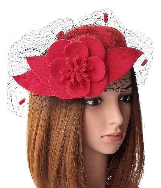 Vintage Hat Styles for Fall/Winter Fascinators Womens Pillbox Hat Wool Felt Veil Cocktail Tea Party Wedding Hats $11.98 AT vintagedancer.com