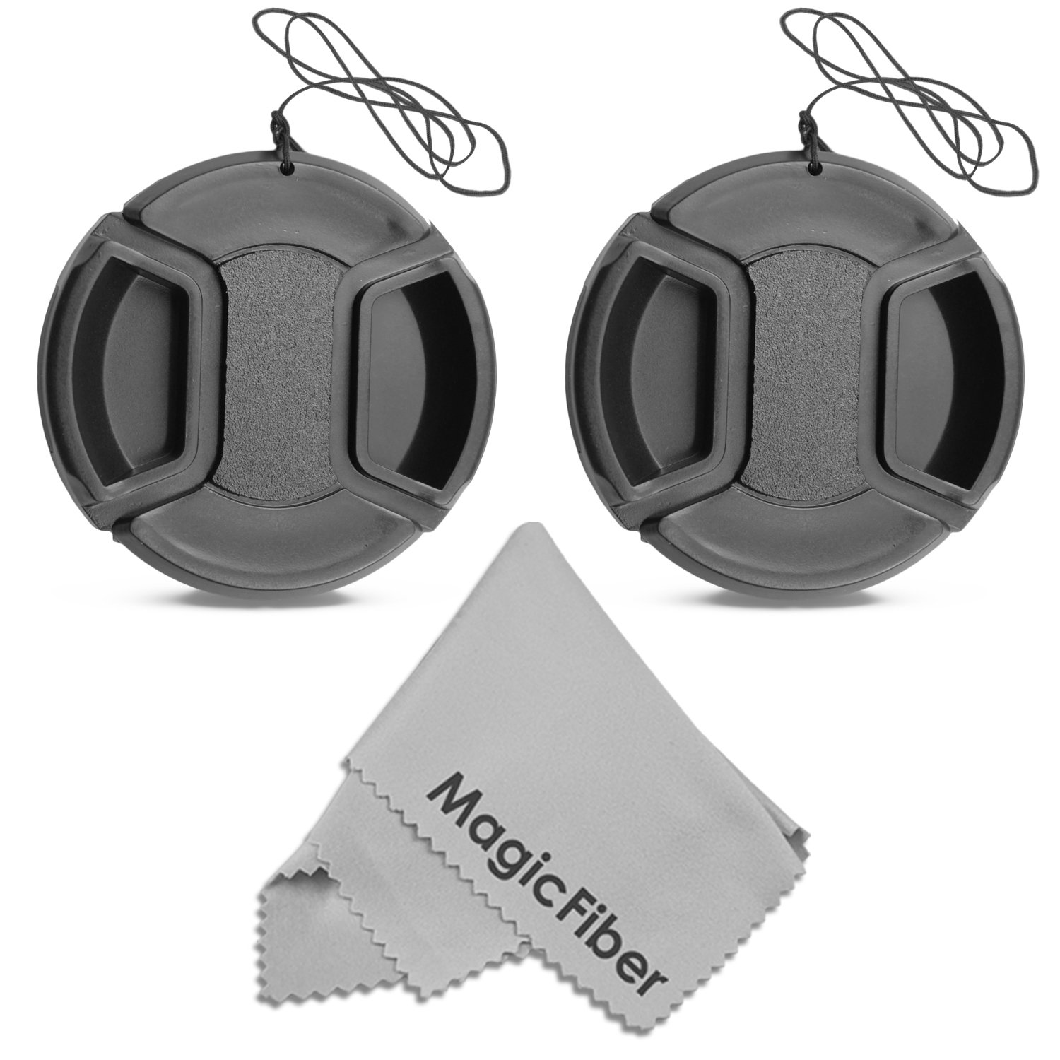 (2-Pack) 52mm Snap-On Center Pinch Lens Cap with Holder Leash, Camera Lens Protection Cover for 52mm Threaded Lenses Altura Photo KX0344