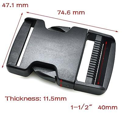 5pcs 1–1/5,1cm (40mm) en toile Boucle latérale en plastique pour sangles de sac à dos tactique Vêtements Accessoires