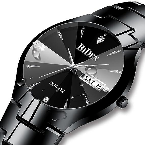Relojes Negro de Diseño Simple para Hombre Reloj de Cuarzo Analógico de Acero Inoxidable para Hombres Calendario Fecha Impermeable Relojes de Pulsera de ...