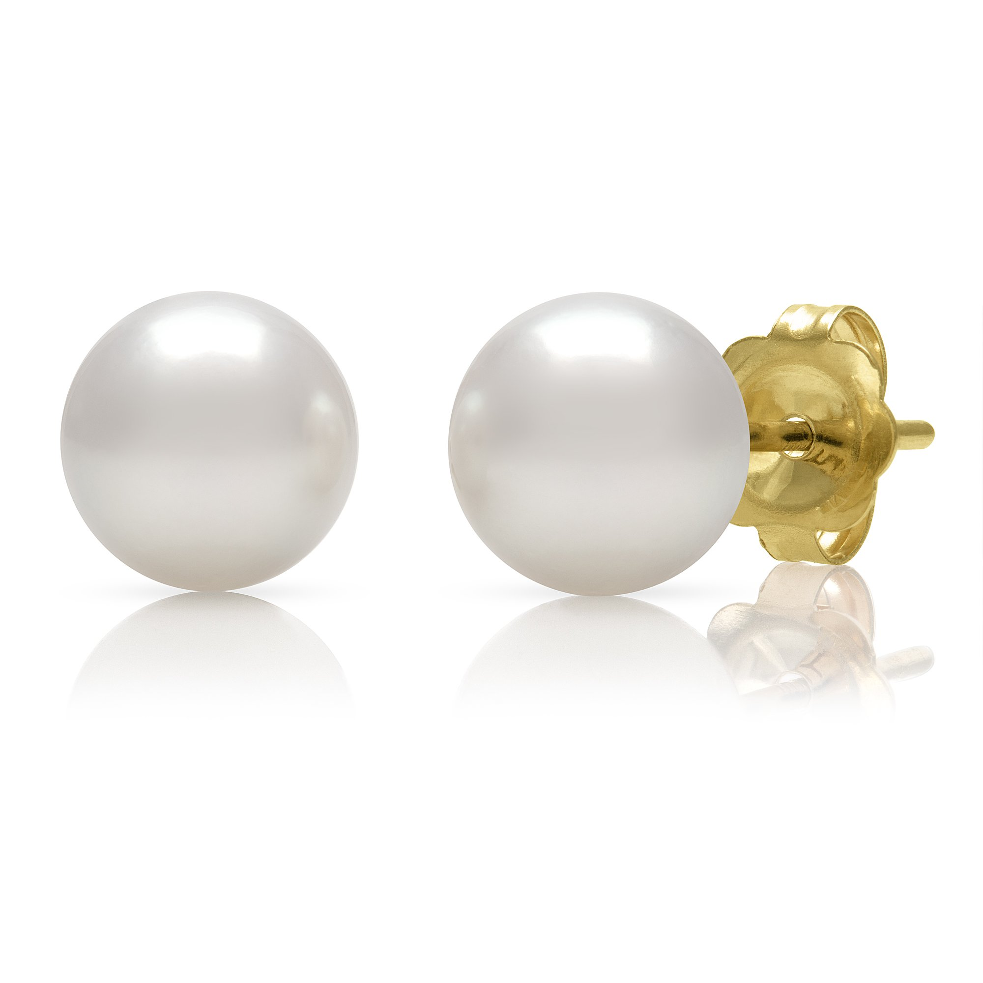 14K Yellow Gold 9.0-9.5mm White Cultured Freshwater Pearl Stud Earrings