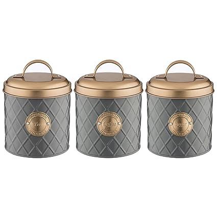 Typhoon 1401655 1401656 1401657 Grey Stainless Steel Tea Coffee Sugar Canister