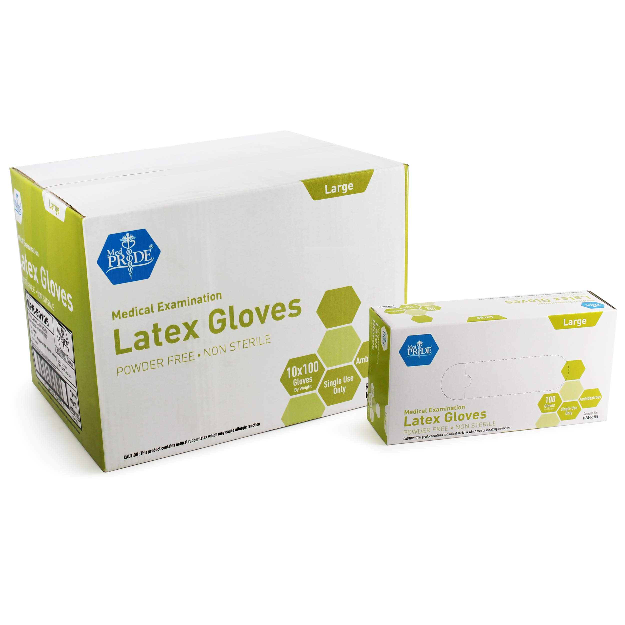 Medpride Medical Exam Latex Gloves| 5 mil Thick, Large Case of 1000| Powder-Free, Non-Sterile, Heavy Duty Exam Gloves| Professional Grade for Hospitals, Law Enforcement, Food Vendors, Tattoo Artists by MED PRIDE