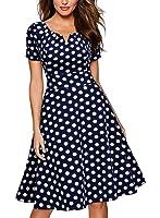 Miusol Women's 1950'S Polka Dot Retro Short Sleeve Pinic Party Swing Dress