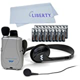 Williams Sound PockeTalker Ultra Duo Sound Amplifier with Headphone & Earbud, Year Supply of Batteries & Liberty Microfiber C