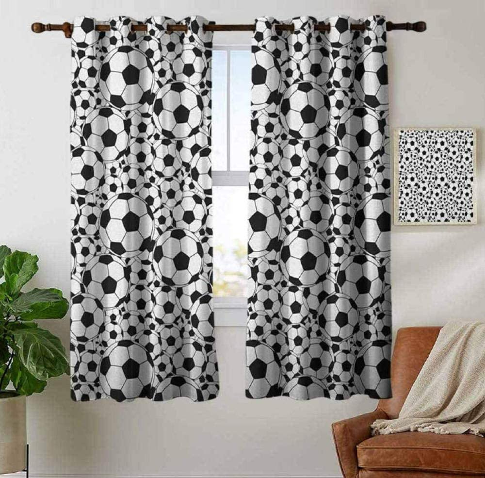 Zhoudd Blackout Curtains Black And White Football Thermal Insulated Eyelet Window Blinds Room Darkening Drapes For Baby Nursery Room W29/ X/ L65/ Inch