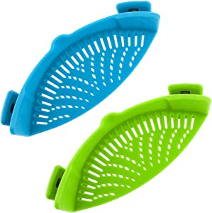 Clip-On Kitchen Food Strainer for Spaghetti, Pasta, Ground Beef Grease, Colander & Sieve Snaps on Bowls, Pots and Pans, Set includes Silicone Strainer, Brush & Garlic Peeler