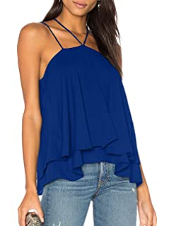 bc3373d94de0a5 Ally-Magic Women s Sleeveless Tank Tops Double Strap Layered Chiffon Blouse