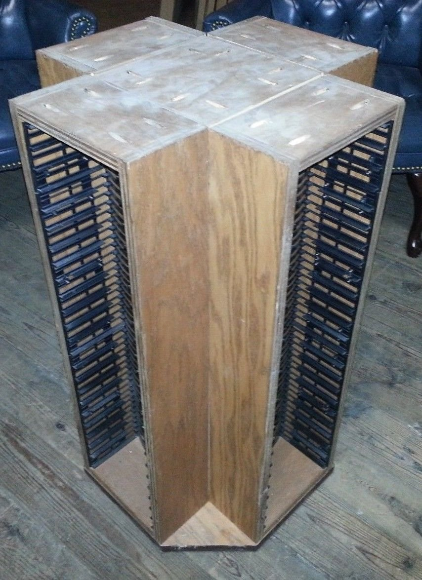 """33"""" Solid Oak Spinning DVD Rack or Stand NEEDS Top Holds 100 DVDs Total"""