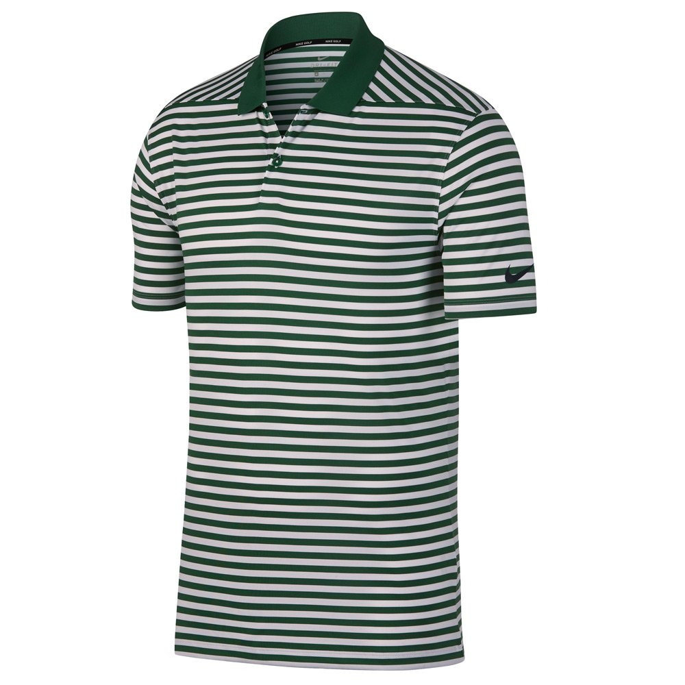 Nike New DRI FIT Victory Stripe Golf Polo Gorge Green/White/Black Small