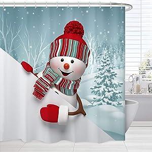 BROSHAN Blue Christmas Shower Curtain Fabric, Cute Snowman in Snowy Forest Print Xmas Bath Curtain, Winter Fabric Bathroom Decor Set with Hooks, 72 x 72 Inch