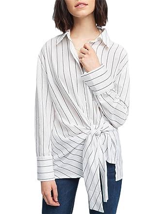 6d3b78763 hodoyi Womens Striped Lapel Tie Waist Long Sleeve Button Down Shirt Top(S, Striped