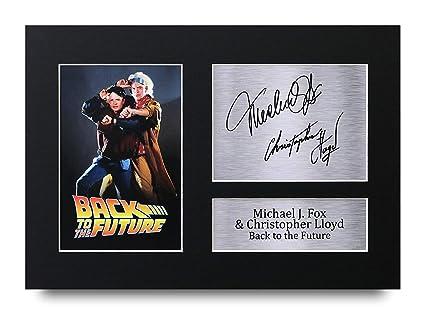 wholesale dealer a4c82 9399f Back to The Future Cadeaux A4 Autographe Imprimé Michael J Fox Christopher  Lloyd Marty McFly & Doc Brown Affichage d'image de Photo D'Empreinte