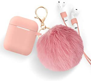 Airpods Case - Bluewind Drop Proof Air Pods Protective Case Cover Silicone Skin, with Cute Fur Ball Airpods Keychain/Strap, Portable Apple Airpods Accessories (Salmon Cream Pink)