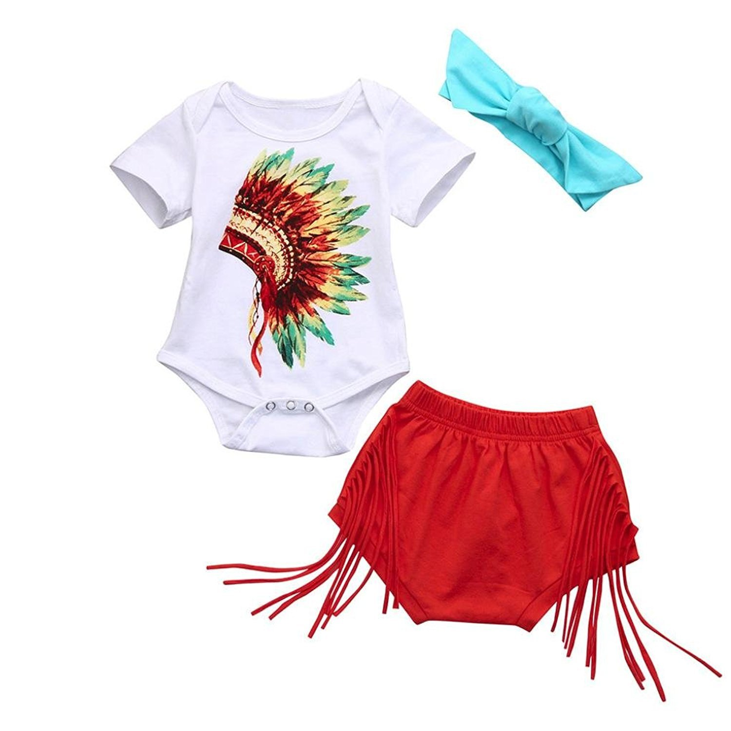Younger Tree Newborn Infant Fashion Outfits Set Baby Girls Boys Indian Print Romper Shorts Headband Clothes Set 3Pcs