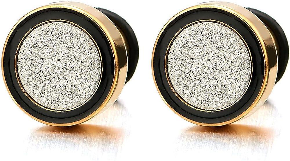 2 Oro Negro Enchufe Falso Fake Plug, Pendientes de Hombre Mujer, Aretes, Acero Inoxidable, 8-12MM