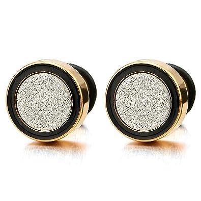 6438ef5f2 8MM Men Women Gold Black Stud Earring Steel Illusion Tunnel Plug with  Silver Sand Glitter,