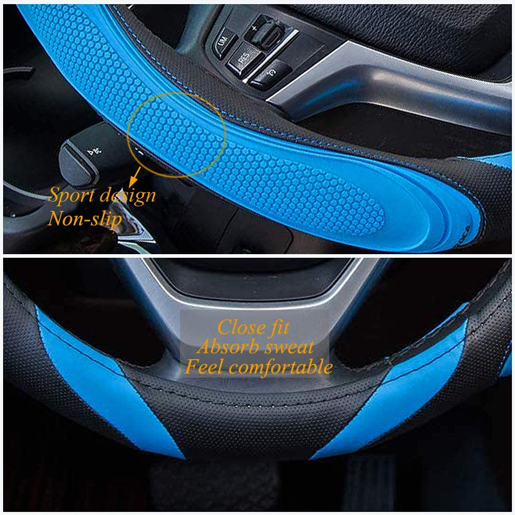 XCBYT Car Steering Wheel Cover Sports Design Non-Slip Stripes Massage Leather Line Blue Wear Resistant Universal Fit 15 Inch Steering Wheel Cover