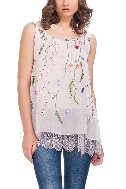 Laura Moretti Blusa de Seda con Diseño Bordado Floral