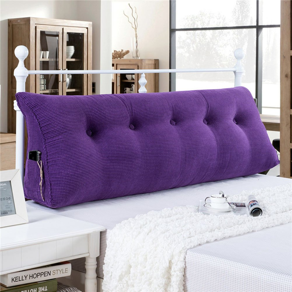 Vercart Sofa Bed Large Filled Triangular Wedge Cushion Bed Backrest Positioning Support Pillow Reading Pillow for Daybed Office Lumbar Pad with Removable Cover Purple King