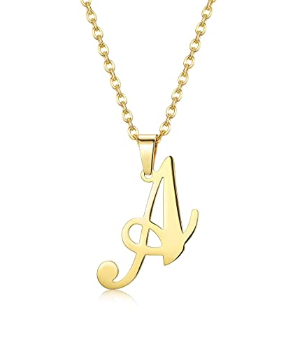 3d6c02782d07 FUNRUN JEWELRY Stainless Steel Large Initial Necklace for Women Men  Alphabet Letter Pendant Necklace Gold Tone
