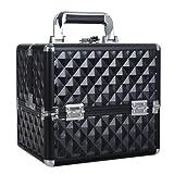 HST Small Professional Beauty Box Vanity Case Cosmetic Makeup Jewelry Storage Organiser Lockable(Diamond Black)