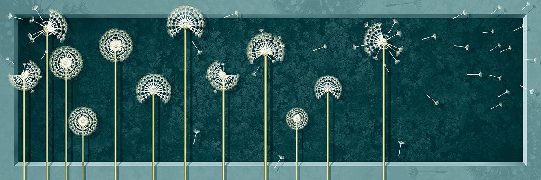 Artland Qualitätsbilder I Bild auf Leinwand Leinwandbilder Wandbilder 120 x 40 cm Botanik Blumen Pusteblume Digitale Kunst Grün A5CO Löwenzahn Modern Petrol