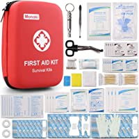 Monoki First Aid Kit Survival Kit, Emergency Survival Kit Medical Supplies Trauma Bag Safety First Aid Kit for Home, Office, School, Car, Boat, Travel, Camping, Hiking, Sports, Adventures