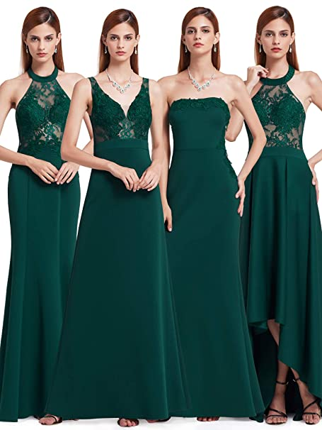 Ever-Pretty Vestidos de Noche sin Tirantes de Encaje Palabra de Longitud Elegante de Las