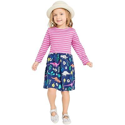 Evelin LEE Toddler Baby Girl Dress Long Sleeve Striped Casual Print Cartoon Dress