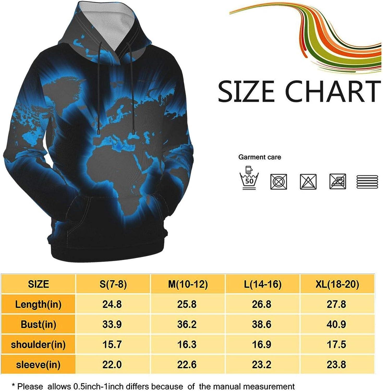 Npanu Youth Hoodie Sweatshirt World Map Realistic 3D Digital Printed Pullover Tops for Boys Girls 7-20 Years