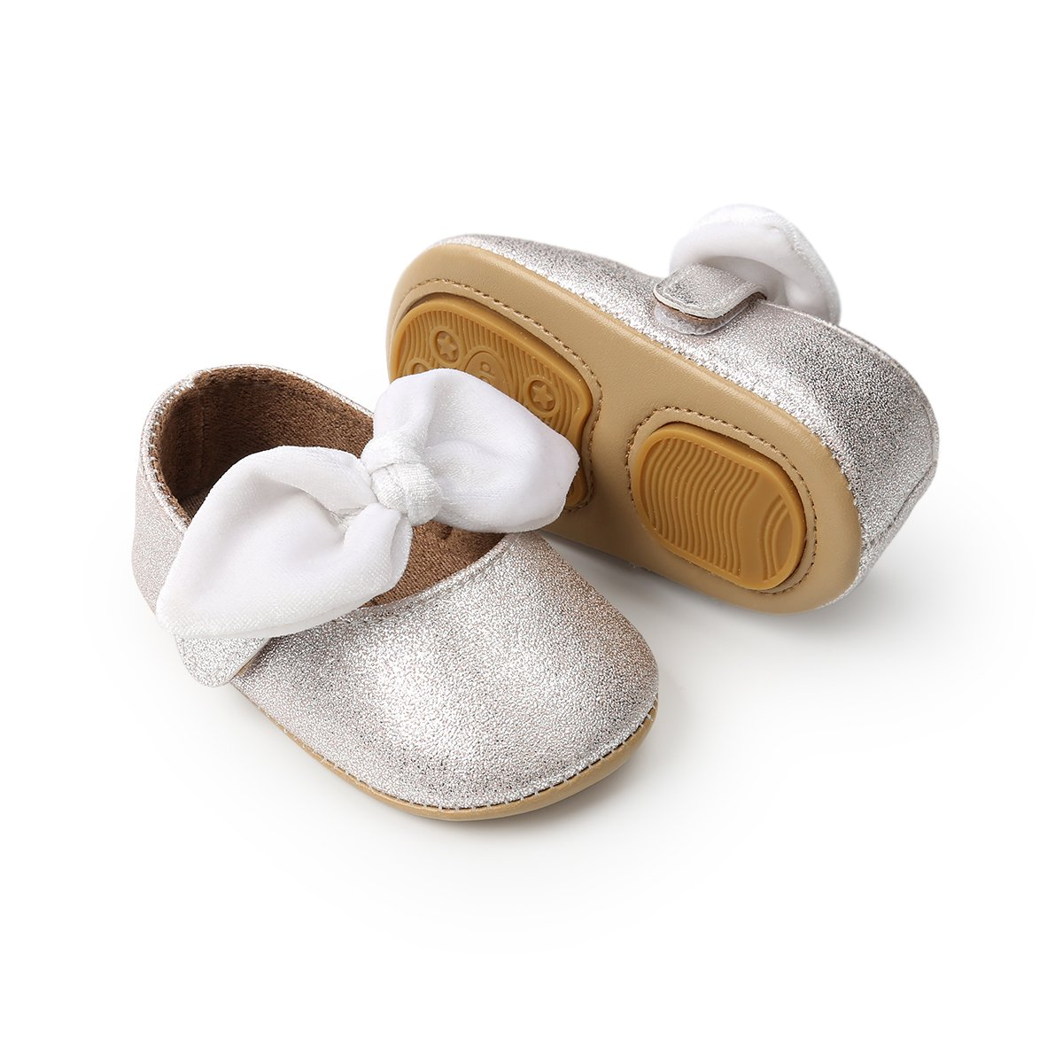 TUZAMA Baby Girls Mary Jane Flats with Bowknot Non-Slip Toddler First Walkers Princess Dress Shoes