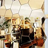 Wall1ders 1Store 20 Hexagon 10 Silver 10 Golden 3D Acrylic Decorative Mirror Wall Stickers for Living Room, Bedroom…
