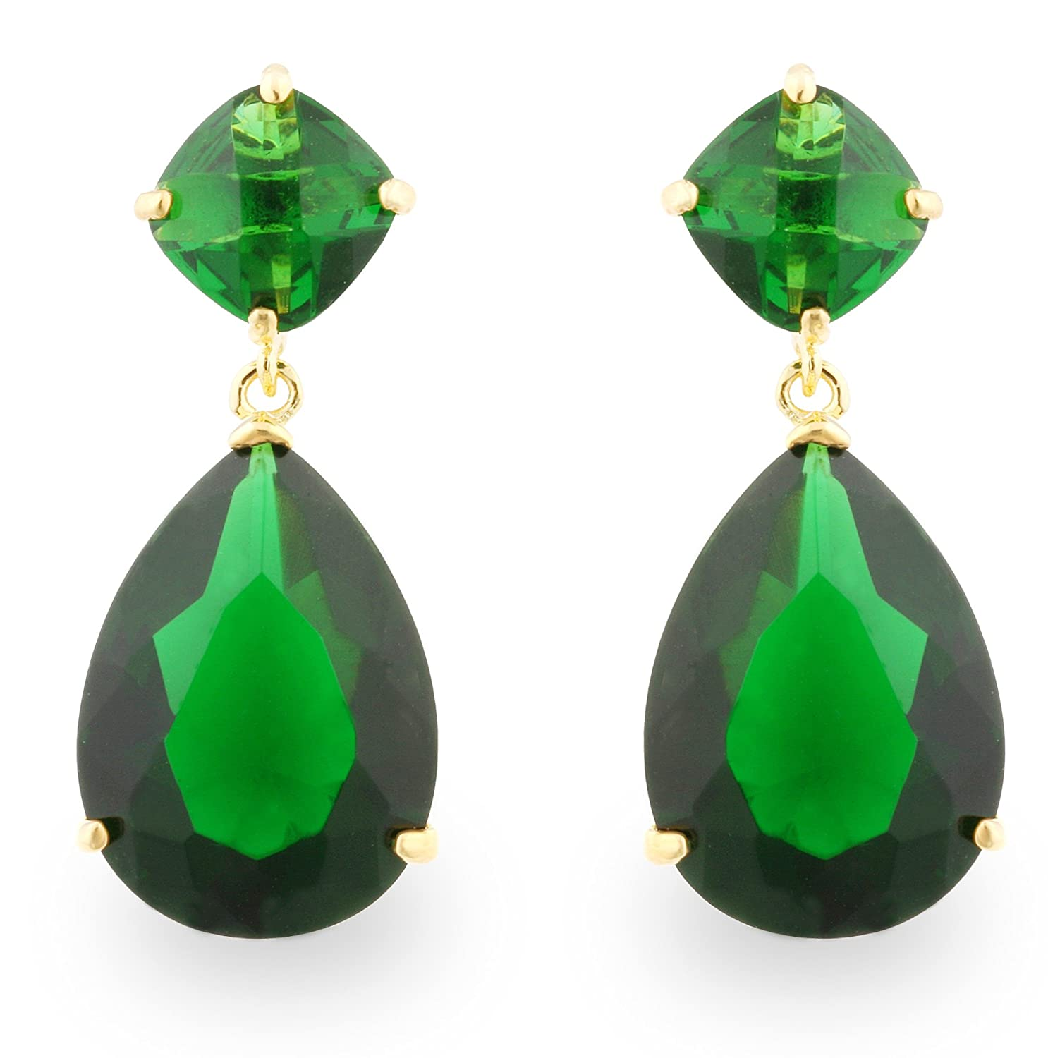 dangle emerald green color earrings teardrop cz jewelry bling pave