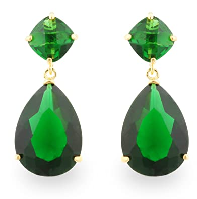 48a15f88e506b JanKuo Jewelry Gold Tone Angelina Jolie Inspired Bridal Prom Emerald Color  Drop Earrings