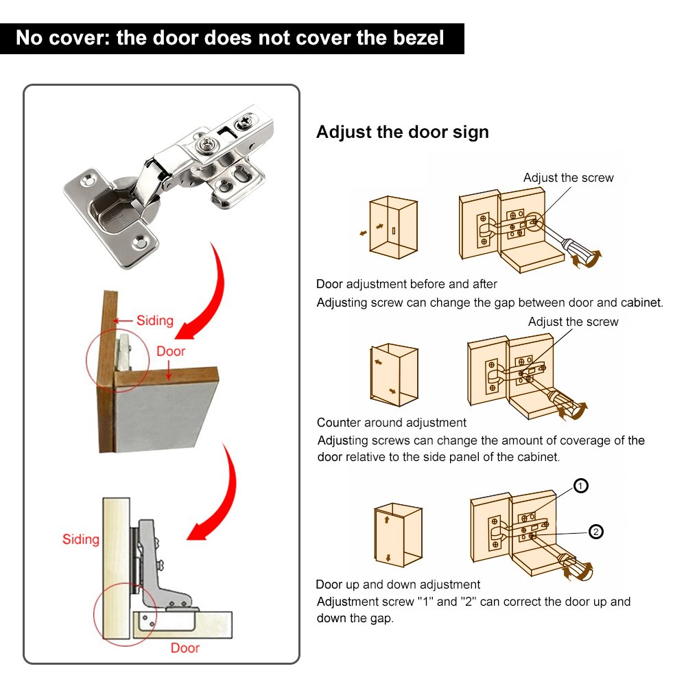 Zilong 110 Degree Slow Soft-Close European Full Overlay Concealed Hinge Inset Hinges for Frameless Cabinets,1 Pair
