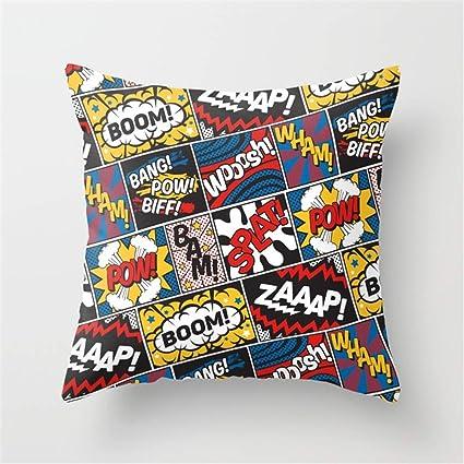 LESIF Modern Comic Book Super Hero Pattern Color Colour Dibujos Animados luz Piedra Pop Art Almohada, Funda de cojín la Página de Inicio Almohada ...