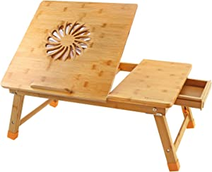 Laptop Desk Large NNEEWVANTE Adjustable Laptop Desk Table 100% Bamboo with USB Fan Foldable Breakfast Serving Bed Tray w' Drawer, Leg Cover
