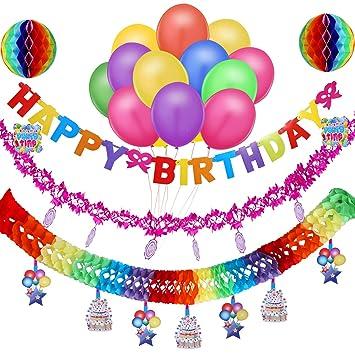 Howaf Decoración para Fiesta de cumpleaños, Guirnalda Happy ...