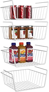 Under Shelf Basket, iSPECLE 4 Pack White Wire Rack, Wire Basket Under Shelf for Storage, Easy to Install