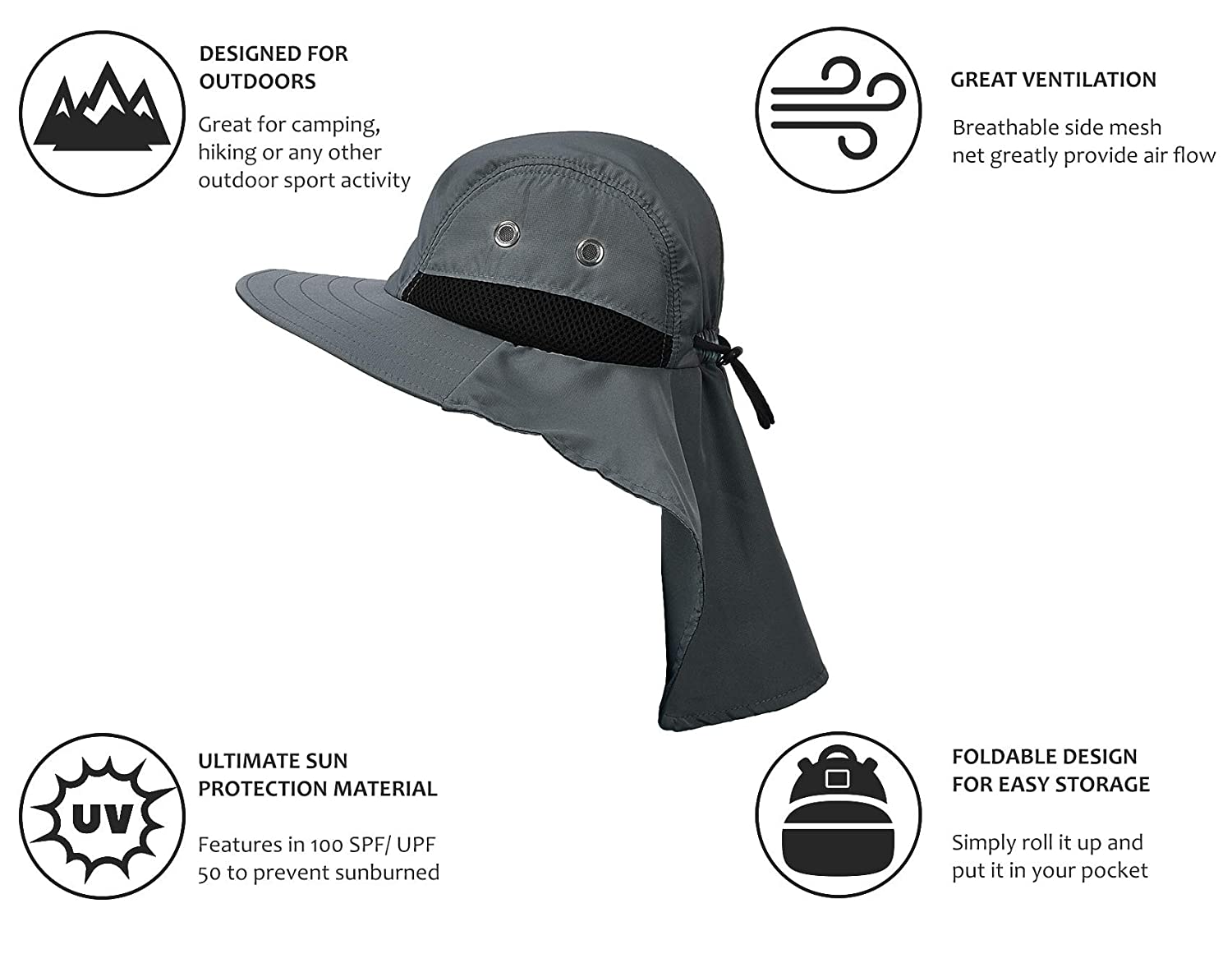 7aec74a2 Sun Blocker Unisex UV Sun Protection Neck Flap Hat Outdoor Camping Hiking  Hunting Fishing Cap with Wide Brim, Grey, Fishing - Amazon Canada