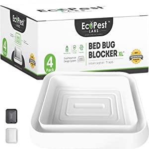 EcoPest Labs Bed Bug Blocker (XL), Extra Large Bed Bug Interceptor Traps, Monitors and Detectors - 4 Pack (White)
