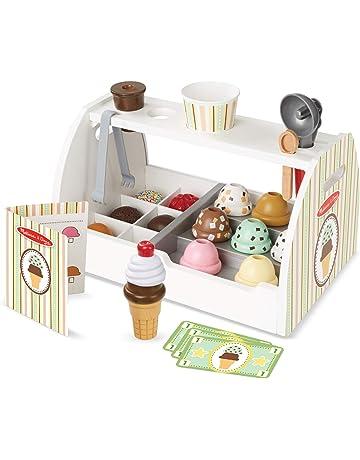 Melissa & Doug - Set de 28 piezas de madera para preparar helados, Wooden Ice