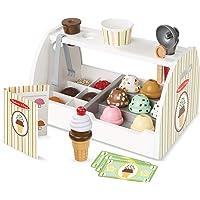 Melissa & Doug Mostrador de heladería de madera para preparar y servir helados, comida de juguete y accesorios, 28 piezas, cuchara de helados realista, 34.544 cm alto x 21.844 cm ancho x 19.558 cm largo
