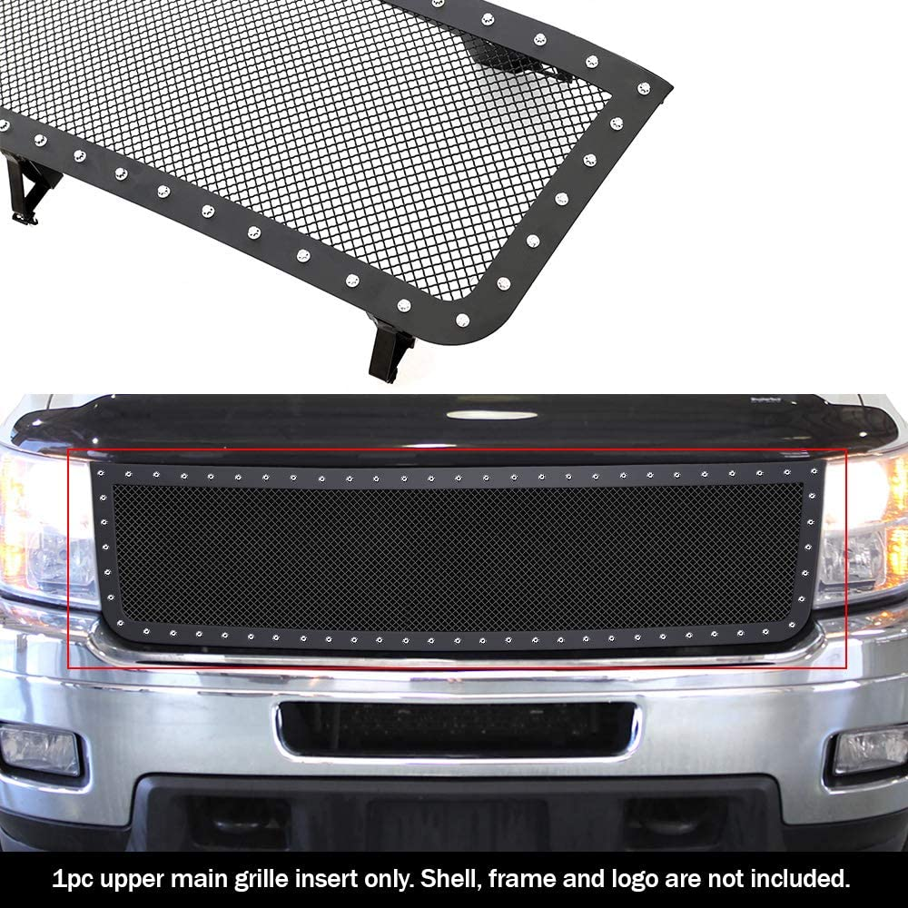 APS Compatible with 2011-2014 Chevy Silverado 2500 3500 HD Stainless Black Mesh Rivet Stud Mesh Grille CL6953H