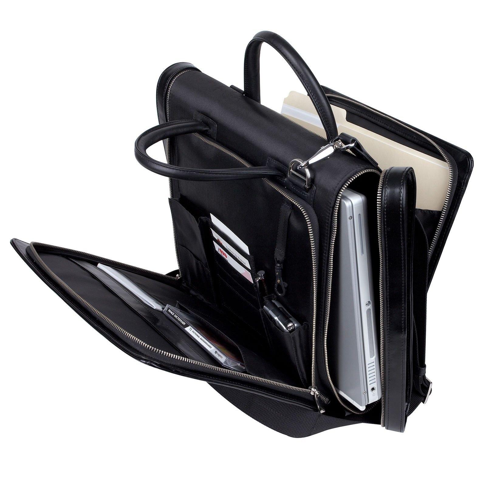 IMPECGEAR Manthattan Leather Trims Messenger Bag and handle Computer Shoulder Bag 15.4 Laptop by ImpecGear (Image #2)