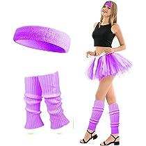 Womens Toweling Wrist Band Headband Leg Warmer Set Ladies 80s Party Accessories